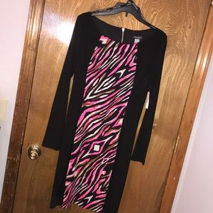 Bisou Bisou animal print panel black dress 10 NWT